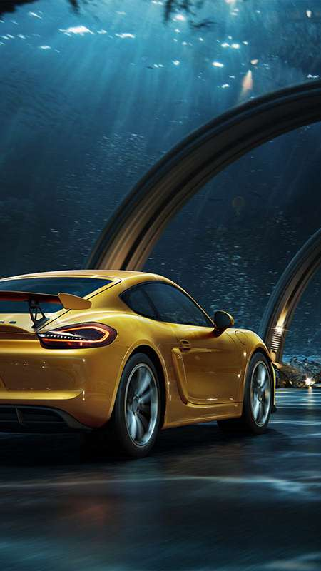Porsche - Underwater road Mobile Vertical wallpaper