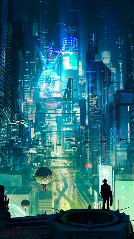 Cyberpunk City Mobile Vertical wallpaper