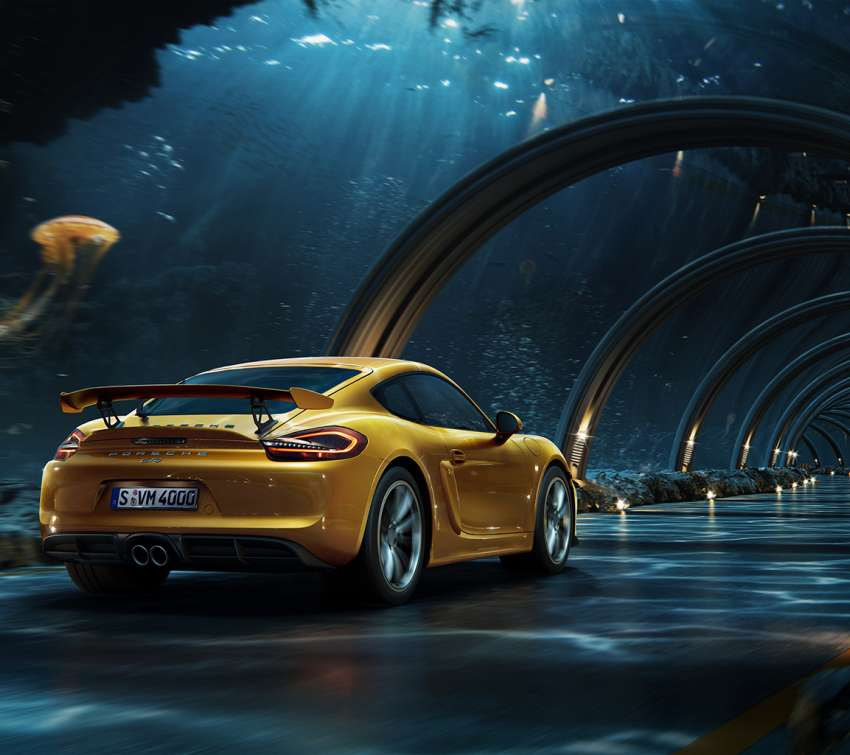 Porsche - Underwater road Mobile Horizontal wallpaper