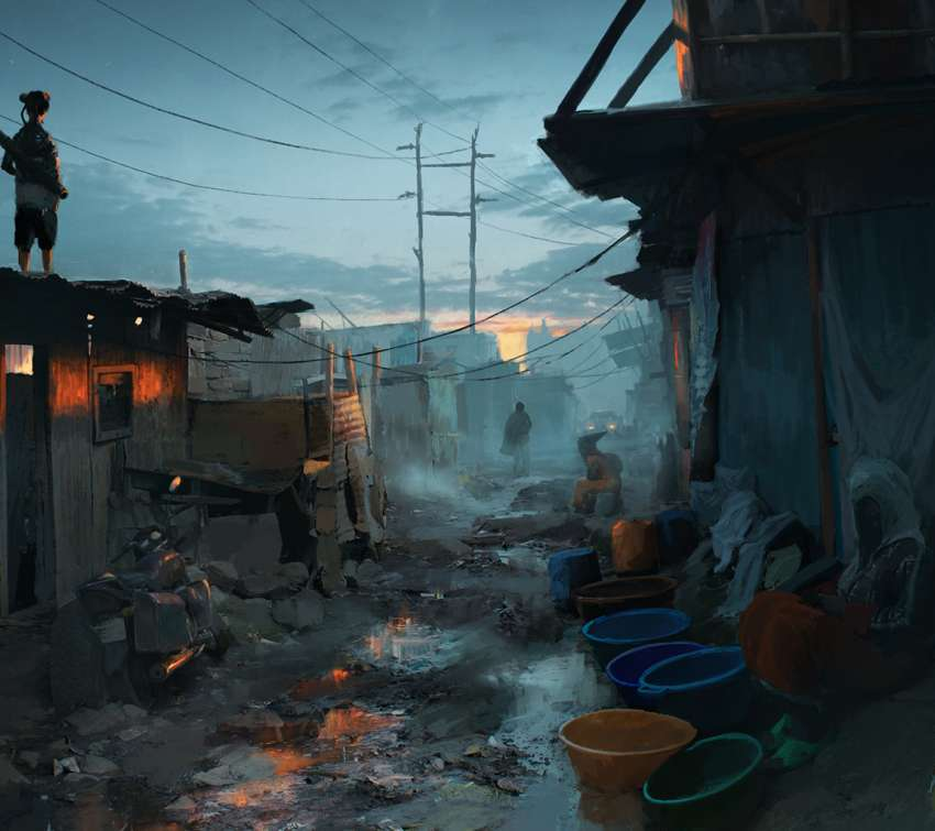 Sunset in the slums wallpaper or background