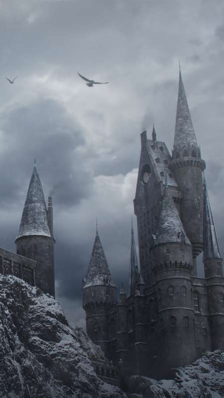 Hogwarts in the Snow Mobile Vertical wallpaper