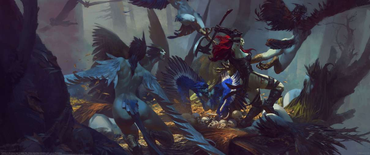 Fighting in the harpy nest  ultrawide wallpaper