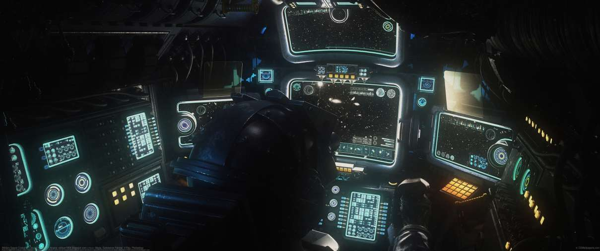 Military Space Cockpit ultrawide wallpaper