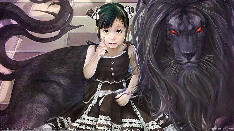Girl and Lion wallpaper or background