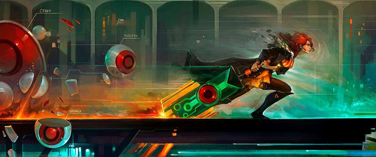 Red Run - Transistor fan art ultrawide wallpaper