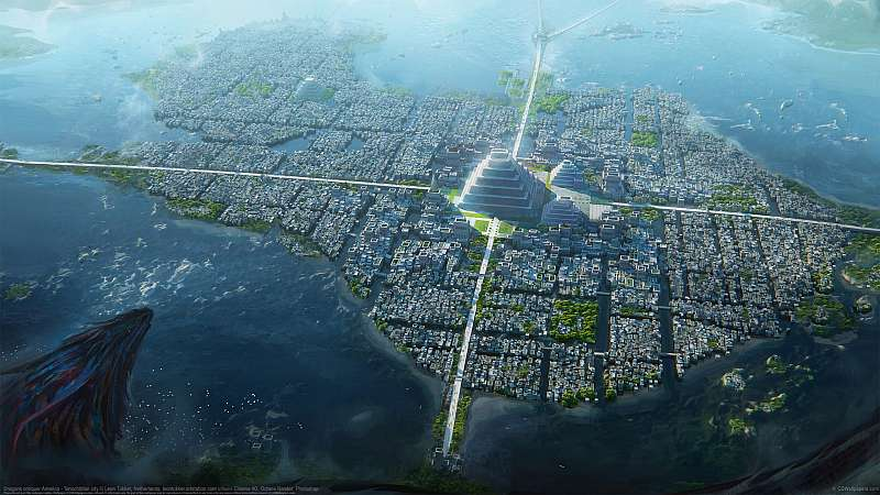 Dragons conquer America - Tenochtitlan city wallpaper or background