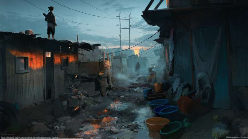 Sunset in the slums wallpaper