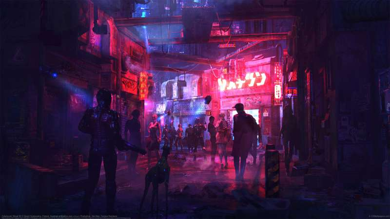 Cyberpunk Street 02 wallpaper or background